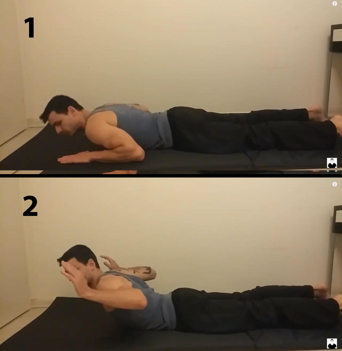 חיזוק חגורת כתפיים - הרמת פלג גוף עליון בשכיבה על הבטן