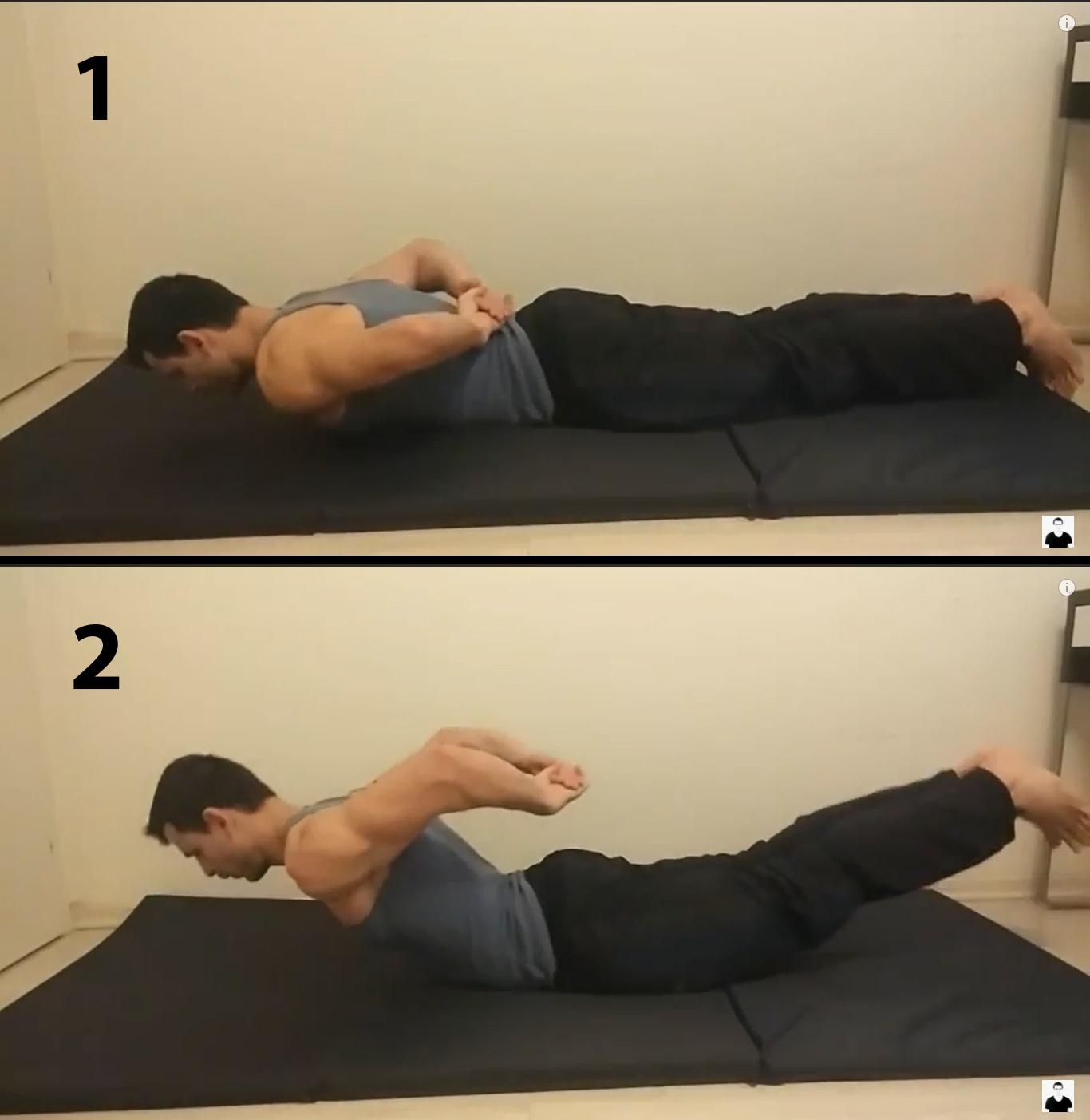 חיזוק חגורת כתפיים - הרמת כתפיים ורגליים בשכיבה על הבטן